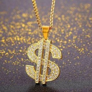 "Mens ""Bradley"" 18K Gold Plated Dollar Necklace"